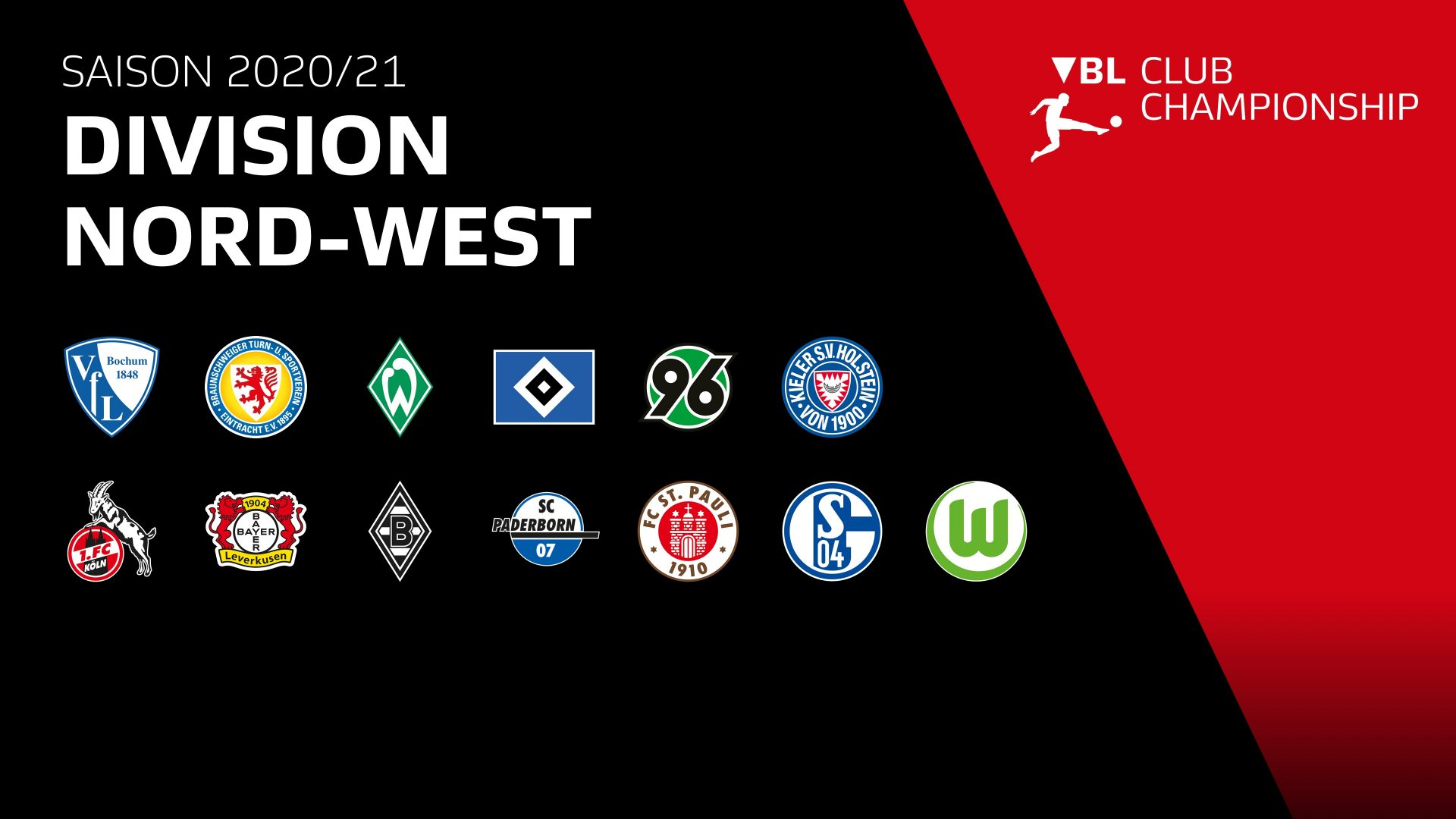 Virtual Bundesliga: Clublogos der Division Nord-West