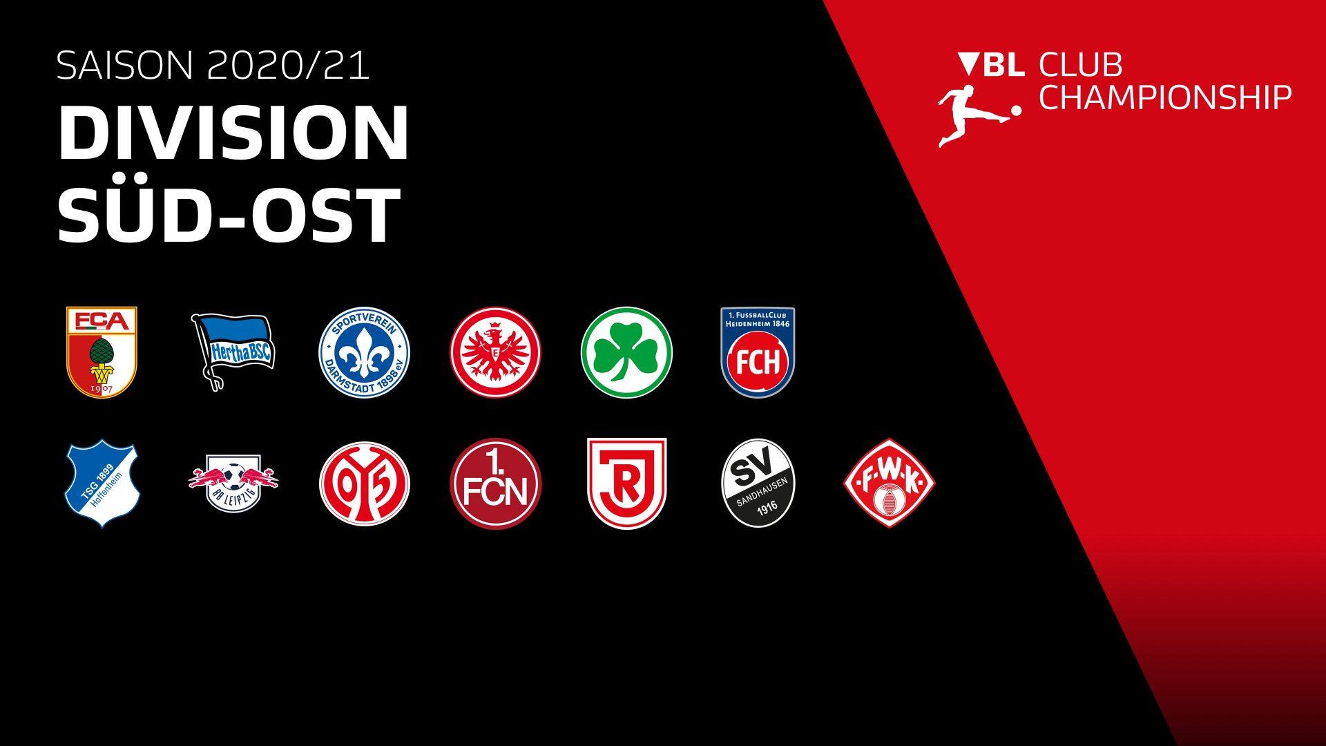 Virtual Bundesliga: Clublogos der Division Süd-Ost