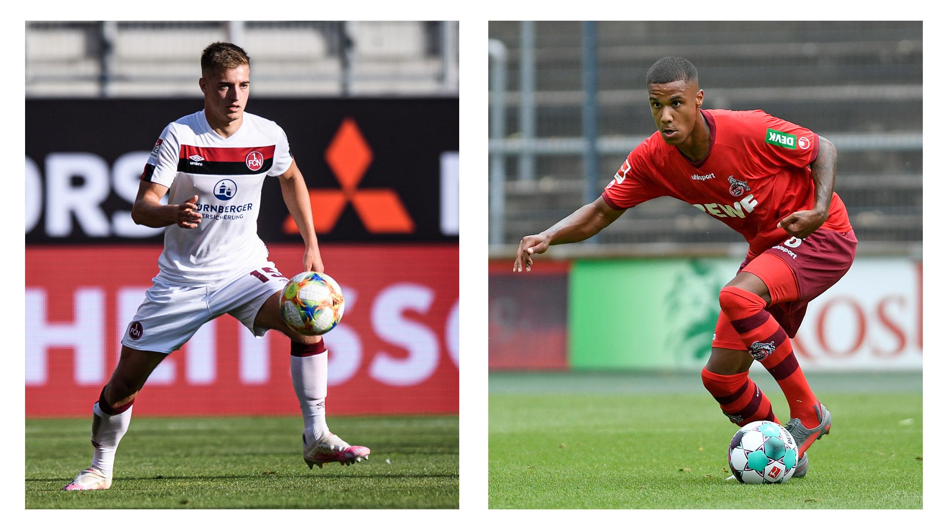 Fabian Nürnberger vom 1. FC Nürnberg (links), Ismail Jakobs vom 1. FC Köln (rechts)