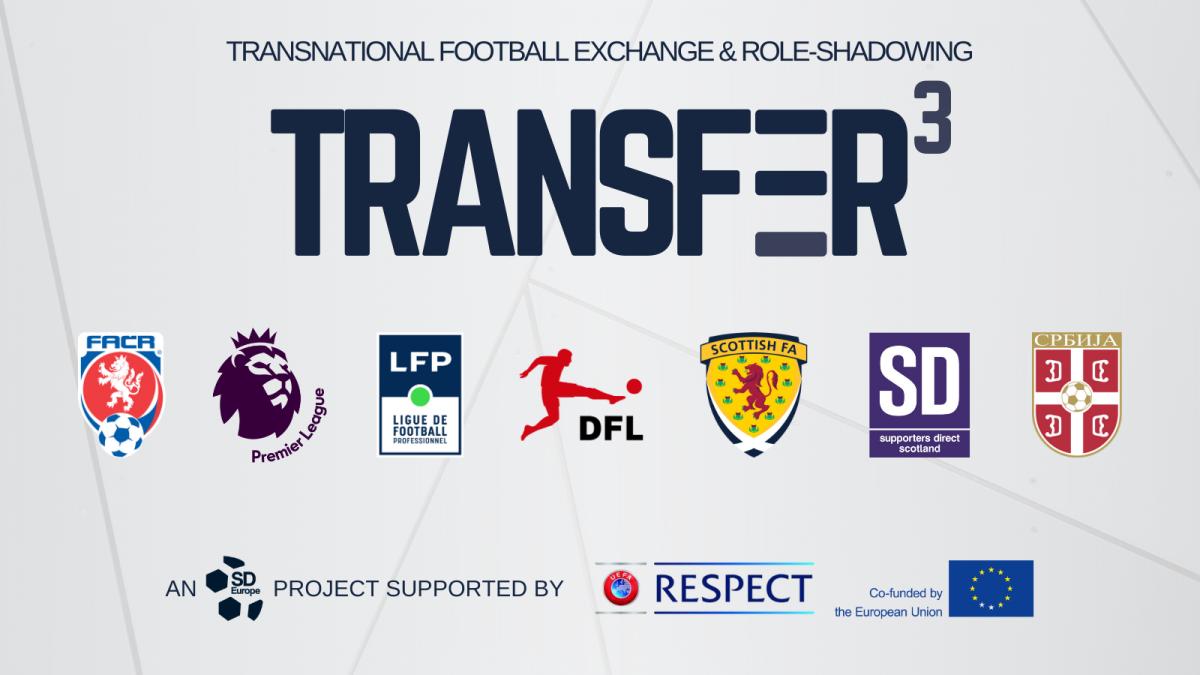 "Logos der Projektpartner von TRANSFER - ""Transnational Football Exchange and Role-Sharing"""