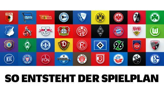 So entsteht der Spielplan - Grafik mit allen Clublogos der Bundesliga und 2. Bundesliga