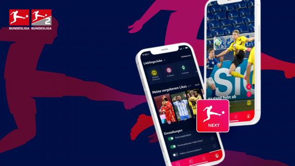 Auf dem Foto sind Smartphones zu sehen, die die Bundesliga NEXT App zeigen