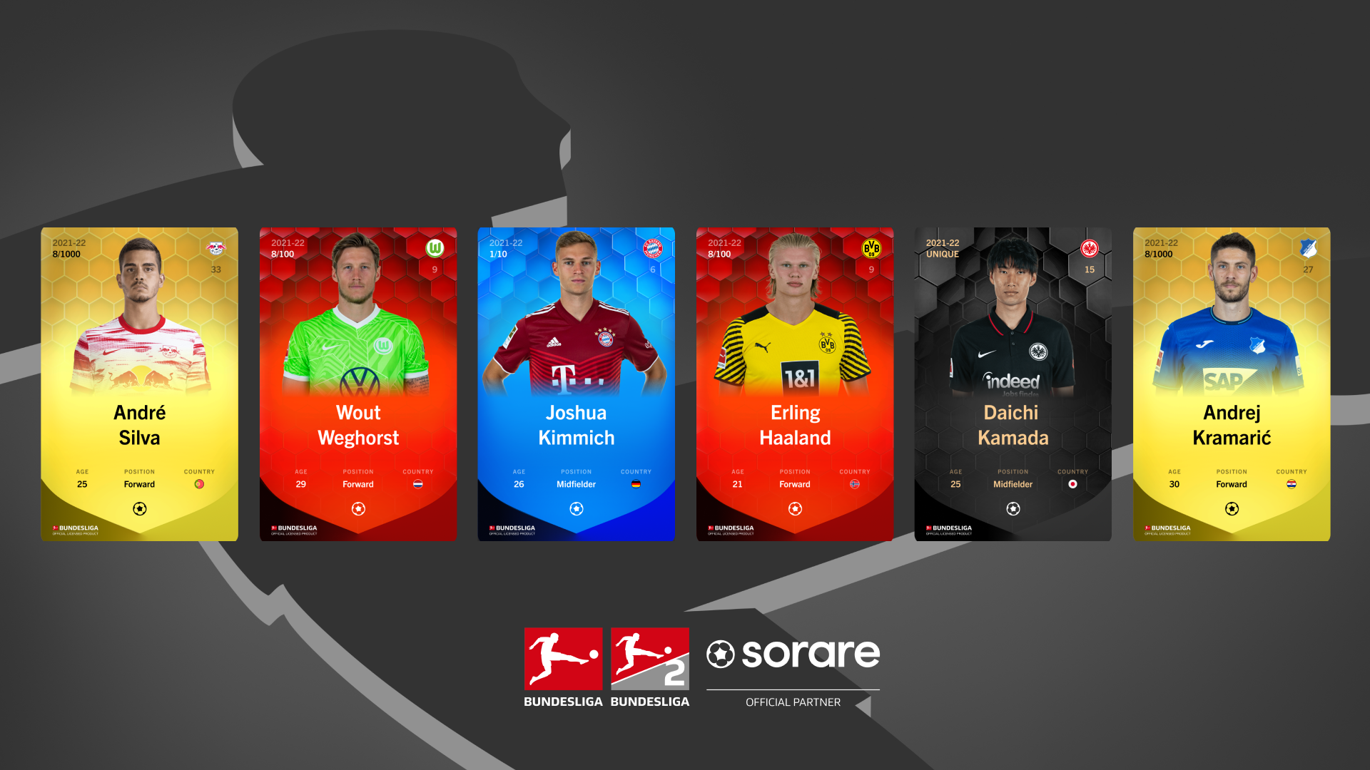 Beispielhafte Bundesliga-Items von Sorare