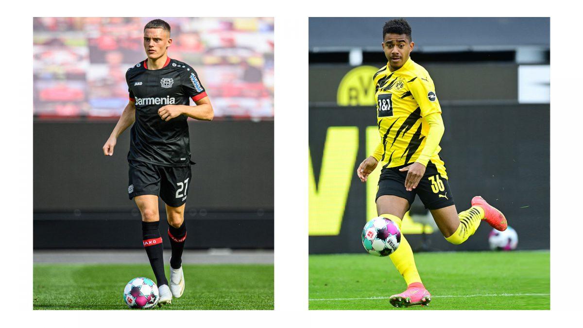 Fotocollage: links Florian Wirtz on Bayer 04 Leverkusen auf dem Spielfeld, rechts Ansgar Knauff vom BVB