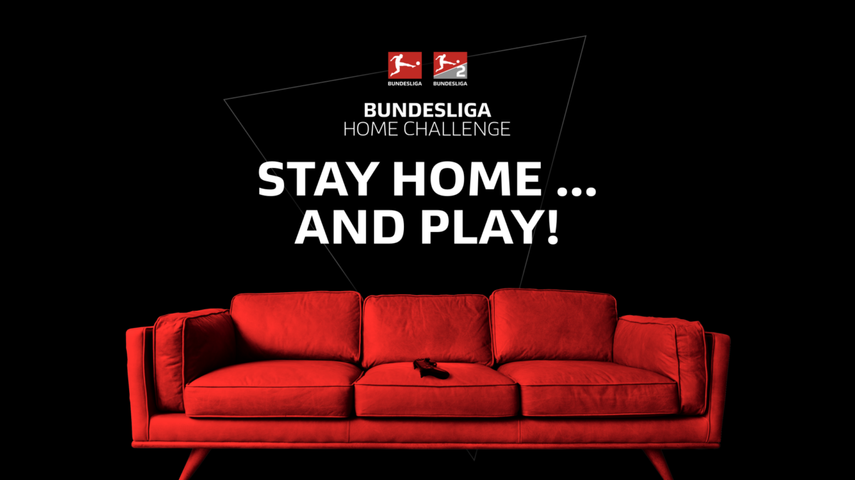 "Visual of the Bundesliga Home Challlenge with the theme: ""Stay home...and play!"""