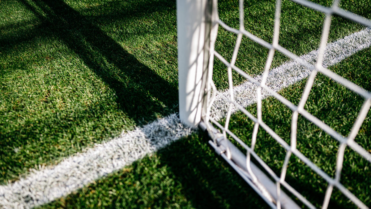 Goal net, view on the goal line