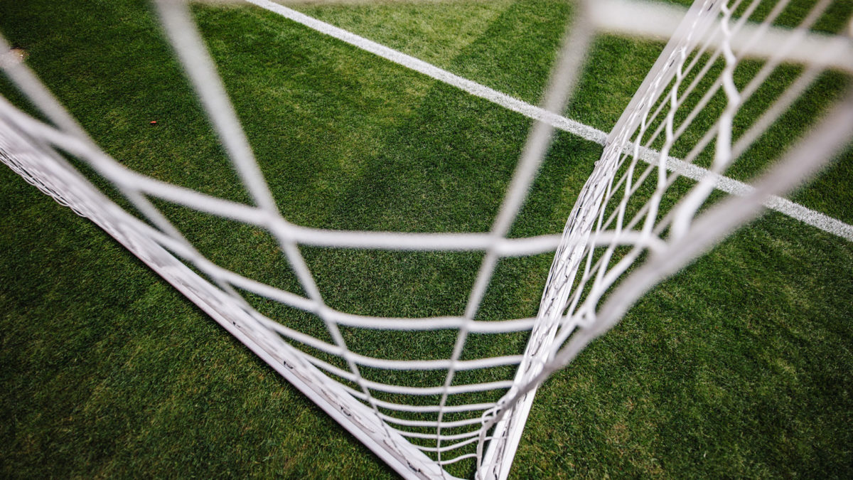 Goal net and green pitch