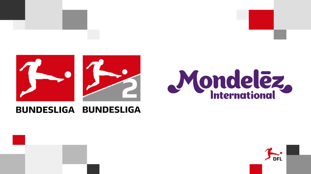 Logos of Bundesliga, Bundesliga 2 and Mondelēz International