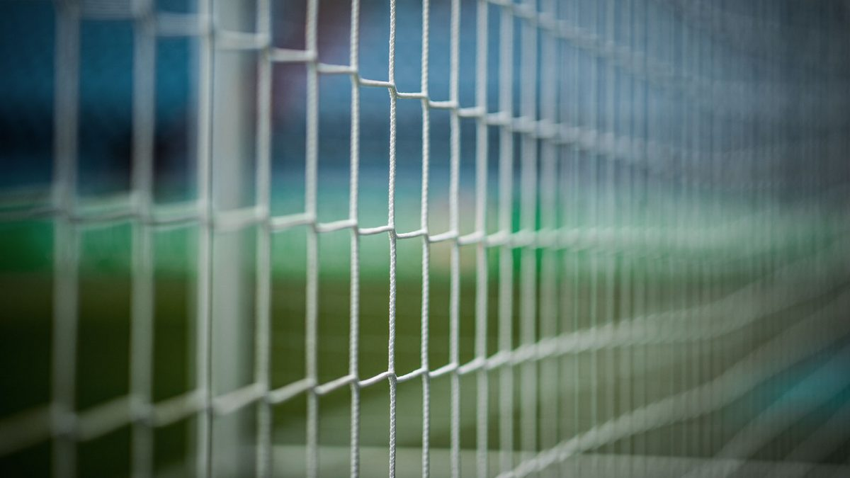 Goal net, blue and green background