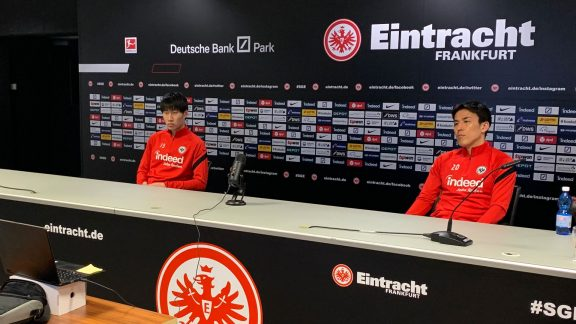 The digital media visit included interviews with Eintracht's Japanese players Daichi Kamada and Makoto Hasebe