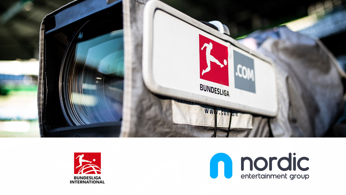 Camera and logos of Bundesliga International and NENT Group