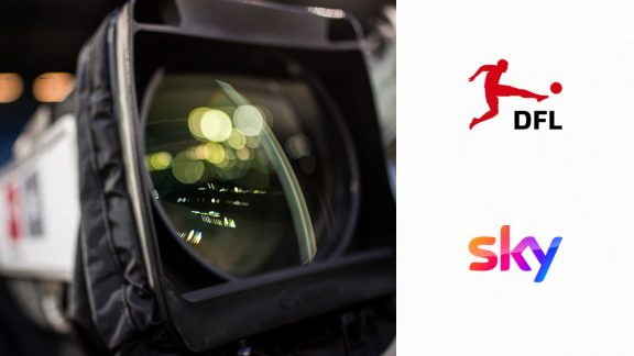 Camera and logos of DFL and sky