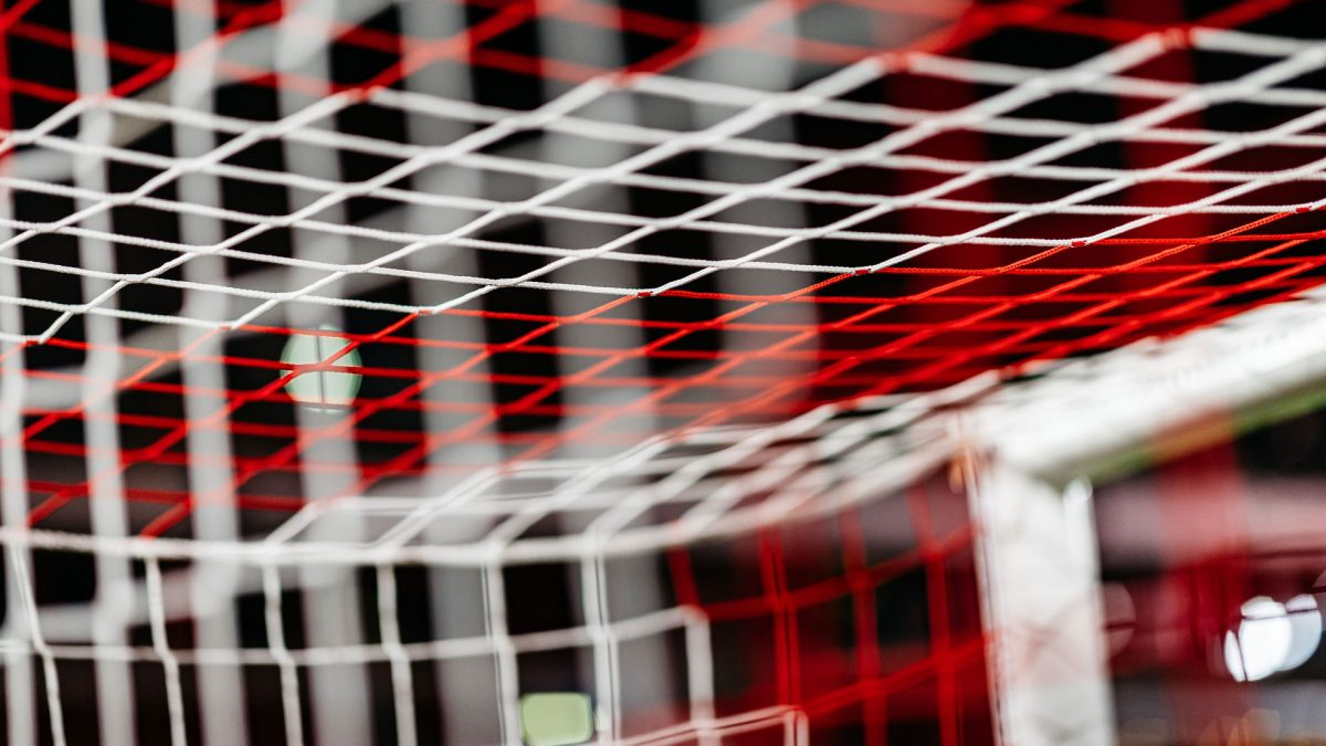 Goal net red and white