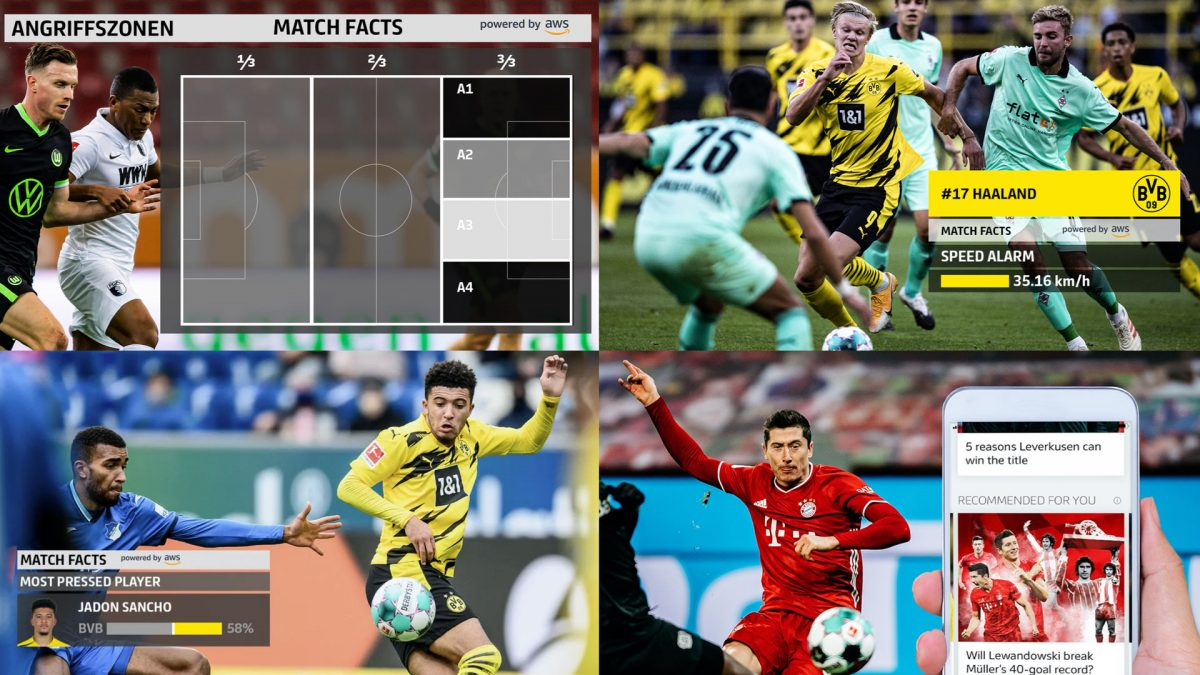 Collage of four Bundesliga Match Facts Screens