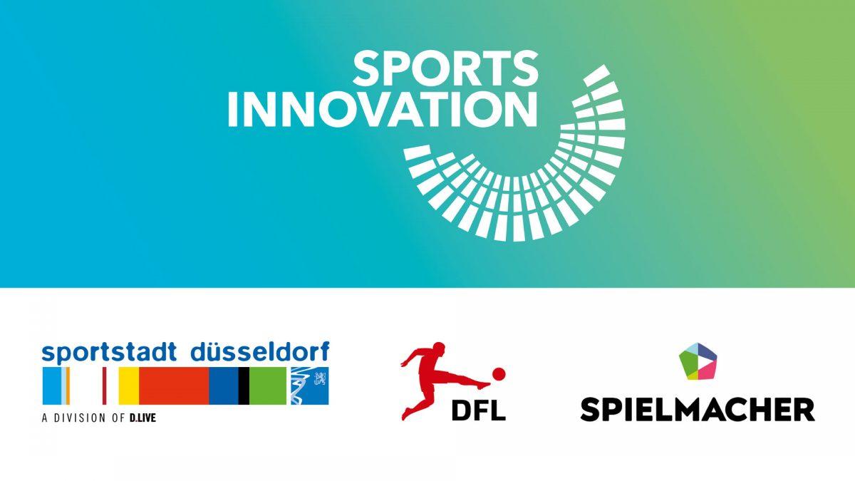 Logos of SportsInnovation, Sportstadt Düsseldorf, DFL and Spielmacher